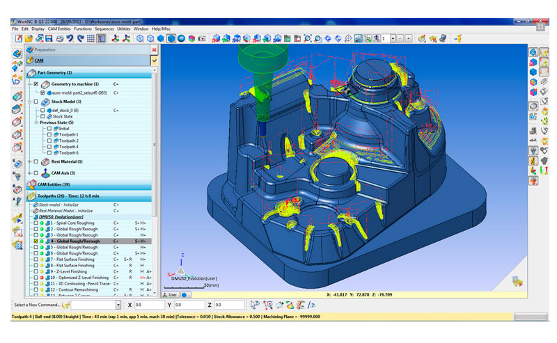 modulos principales de workNC mecanizado de moldes CAD CAM